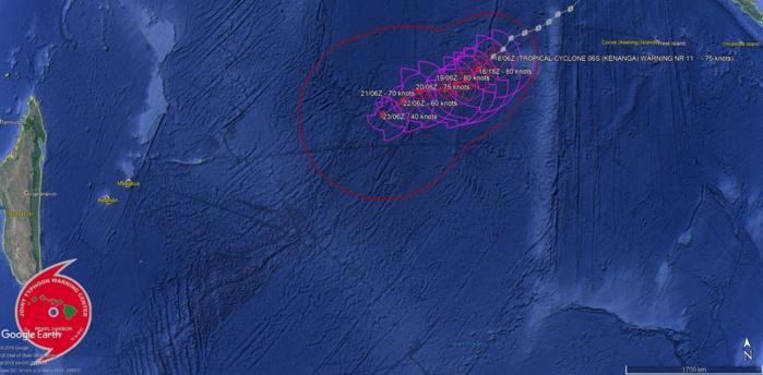 Prévisions de trajectoire et intensité par le JTWC pour les 5 prochains jours.