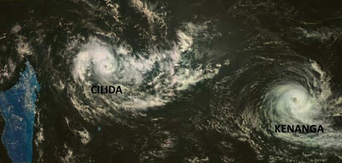 Cliquez sur l'image.CILIDA s'intensifie et KENANGA s'affaiblit. Satellite russe, Gom-2 à midi.