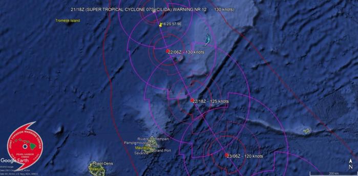 Cliquez sur l'image. Position de 04h ce matin marquée vers 16.2°sud et 57.9°est.