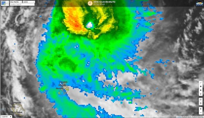 Des bandes plus actives(vert foncé) s'approchent de Maurice. Photo satellite de 13h.