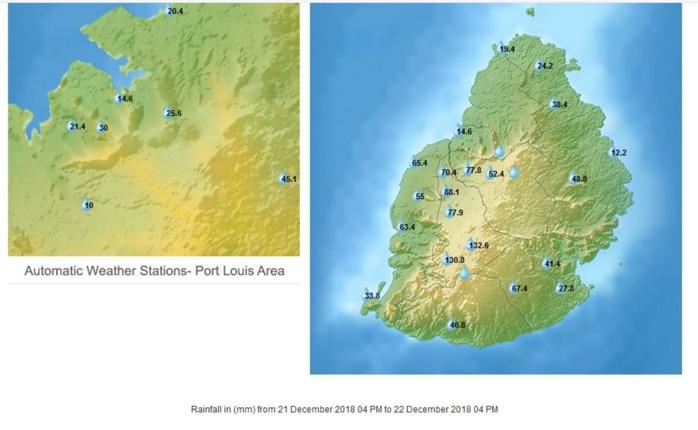 Maurice: pluies en 24h à 16h. Données de MMS/Vacoas.