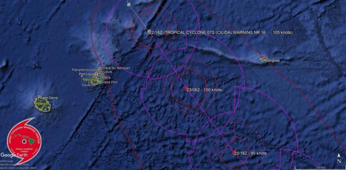 CILIDA est à 230km des côtes mauriciennes à 01h ce matin.