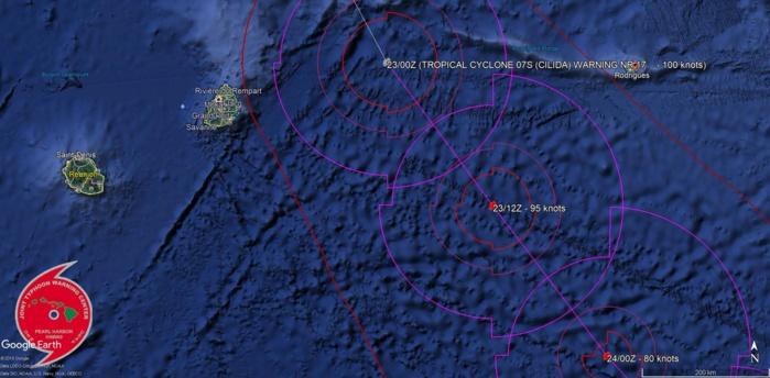 Le centre du cyclone intense est passé à quelques 230km des côtes mauriciennes.