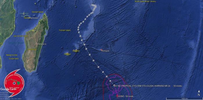 Cliquez sur l'image.Trajectoire complète du cyclone intense CILIDA.