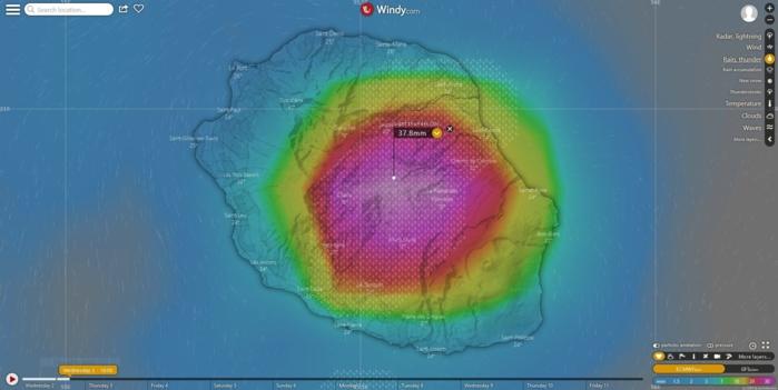 Simulation du modèle européen ECMWF en fin d'après midi.