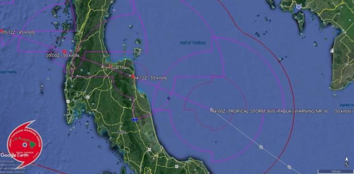 Trajectoire prévue du système avec un atterrage prévu dans un peu moins de 12heures au sud est de Surat Thani qui est le port principal d'embarcation vers la fameuse Ko Samui.