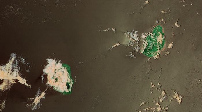 Noaa 20 à 13h30: le traitement en fausses couleurs de l'image ne met pas en évidence de foyer actif sur la Réunion(pas de couleur rose).