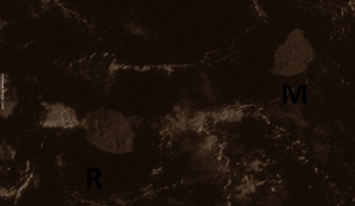 Nos deux bijoux capturés par le satellite géostationnaire indien à 7h. Les nuages qui ont traversé le ciel de la moitié sud de la Réunion pendant la nuit sont à présent en mer entre les îles soeurs. Quelques nuages sont visibles au large du Port. Maurice aussi est sous un soleil implacable.Crédit image: IMD