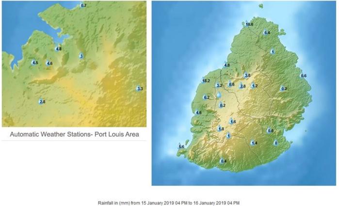 Pluies des dernières 24h à Maurice. Sur le nord est l'ouest elles sont tombées en début d'après midi. MMS/Vacoas.
