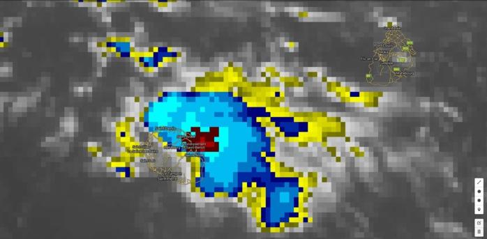 Image satellite à 03h. Le foyer le plus actif(rouge) est bien visible au large de Saint André/Saint Benoît, Réunion.