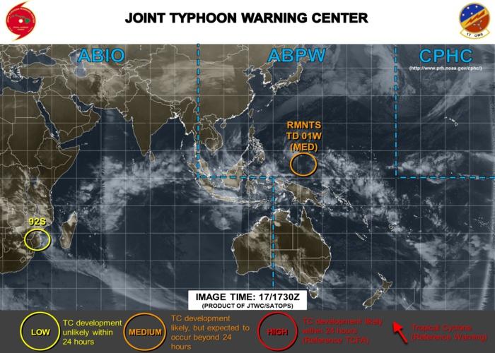 """""""Disette cyclonique"""": rare que les cartes du Joint Typhoon Warning Center soient aussi peu fournies surtout en plein mois de Janvier."""