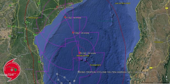 """Trajectoire et intensité prévues par le JTWC dans son second """"warning"""" sur ce système.NB: """"tropical cyclone"""" est le terme scientifique qui regroupe les systèmes à l'intensité de dépression, tempête et cyclones tropicaux."""