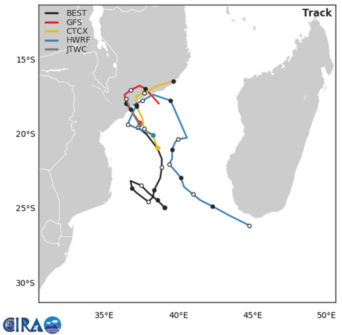 22h: la trajectoire en noir représente celle réellement observée. Les modèles anticipent un retour vers le Canal de Mozambique après l'atterrage traduisant une interaction de plus en plus envisagée avec le système 93S actuellement situé au nord ouest de Madagascar et qui pourrait s'intensifier sur le Canal ces prochains jours.