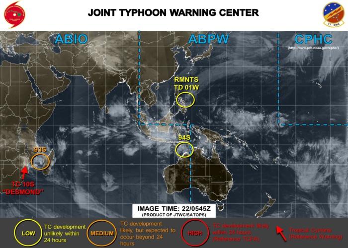 """La carte du JTWC vient de sortir et comme je vous le disais 93S est passé en Medium(voir explications plus haut). Certaines zones mentionnées ne sont pas sur cette carte mais sont suivies néanmoins et sont sur les cartes du JTWC mais en """"interne""""."""