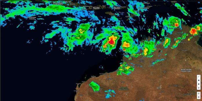 Satellite à midi. 94S en formation au nord ouest de l'Australie Occidentale.
