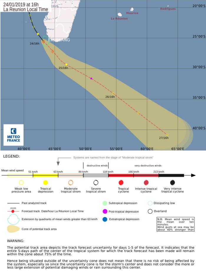 16h: carte de prévisions de trajectoire et d'intensité du CMRS de la Réunion.
