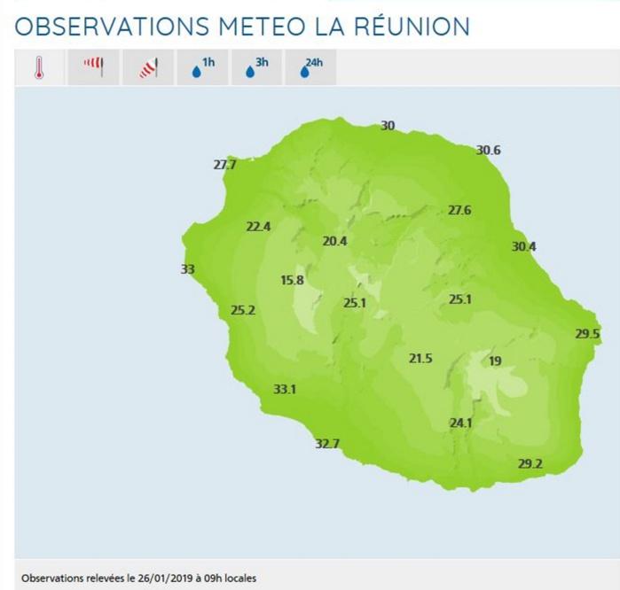 Relevés de températures dans les stations de Météo France Réunion à 9h.