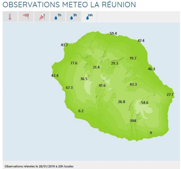 20h: cumuls des précipitations enregistrés en 24h dans les stations de Météo France Réunion disponibles en temps réel.