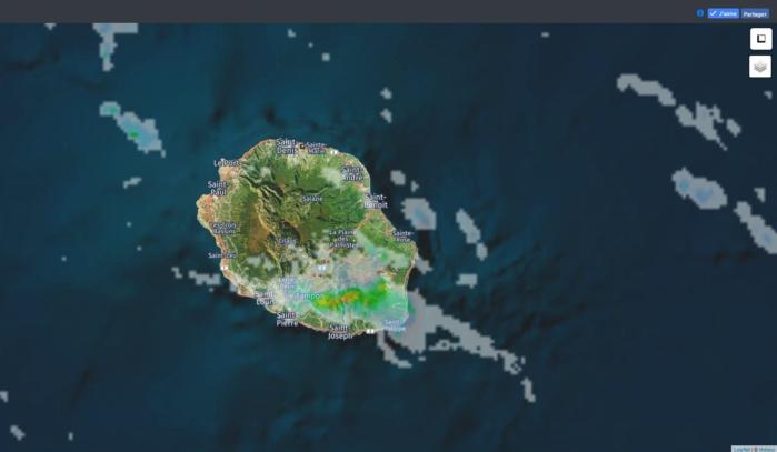 20h05: radar de Météo France Réunion. Crédit image: https://www.meteoi.re/