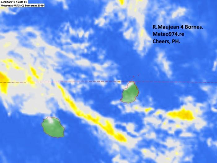 Météosat 19h. L'animation jusqu'à 21h montre que la bande au large de la Réunion s'est dissipée. Image Raoul Maujean.