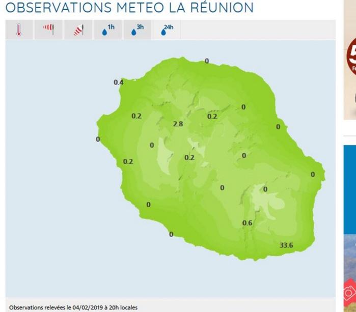 A 20h pluviométrie en 24h dans les stations de Météo France Réunion.