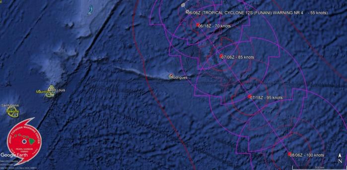 """Dernière prévision de trajectoire et d'intensité du JTWC. Le système pourrait passer à 250/260km de Rodrigues à l'intensité de cyclone tropical. NB:""""tropical cyclone"""" est le terme scientifique en anglais qui englobe les dépressions, tempêtes et cyclones tropicaux."""