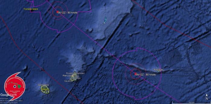 Le centre de GELENA pourrait passer à 250/260km de Maurice et à une centaine de kms de Rodrigues.