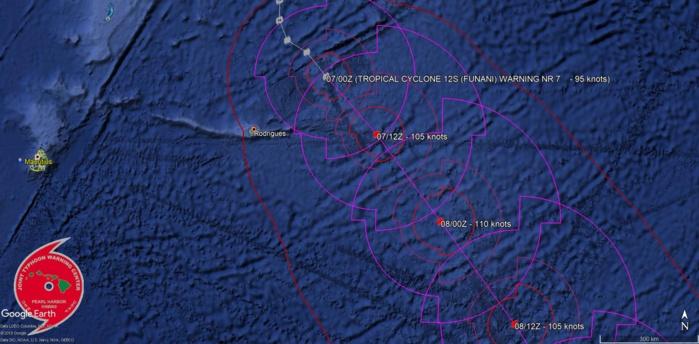 Prévisions du JTWC: le cyclone conitnue de s'intensifier mais est à son point le plus rapproché de Rodrigues sur la trajectoire actuelle.