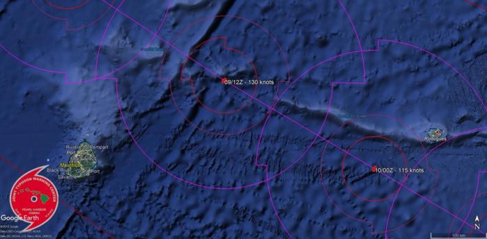 JTWC: le cyclone intense est prévu passer à quelques 230km de Maurice et une centaine de km de Rodrigues.