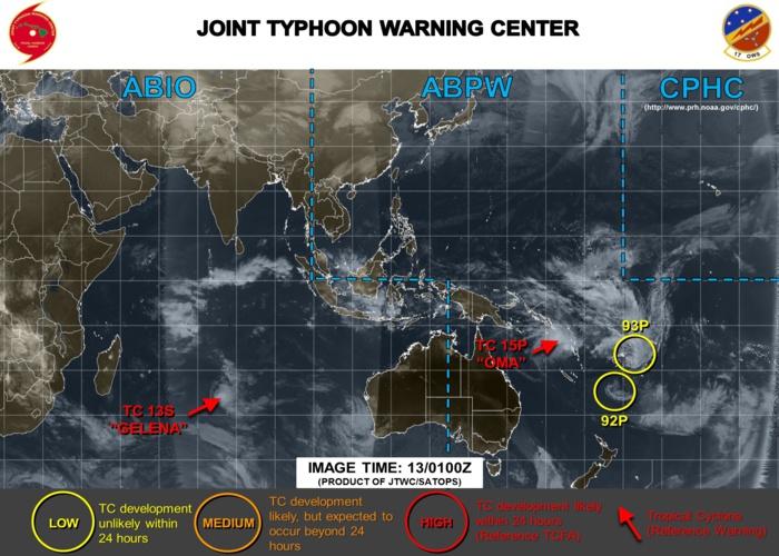 Cyclones: Sud Pacifique: 3 systèmes : mais OMA devrait avaler les deux autres ( VIDEO )