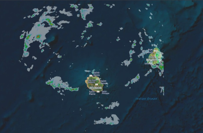 Radars de Météo France Réunion. Instabilité sur les Iles Soeurs notamment en fin de nuit, l'après midi et en soirée. Crédit image: https://www.meteoi.re/
