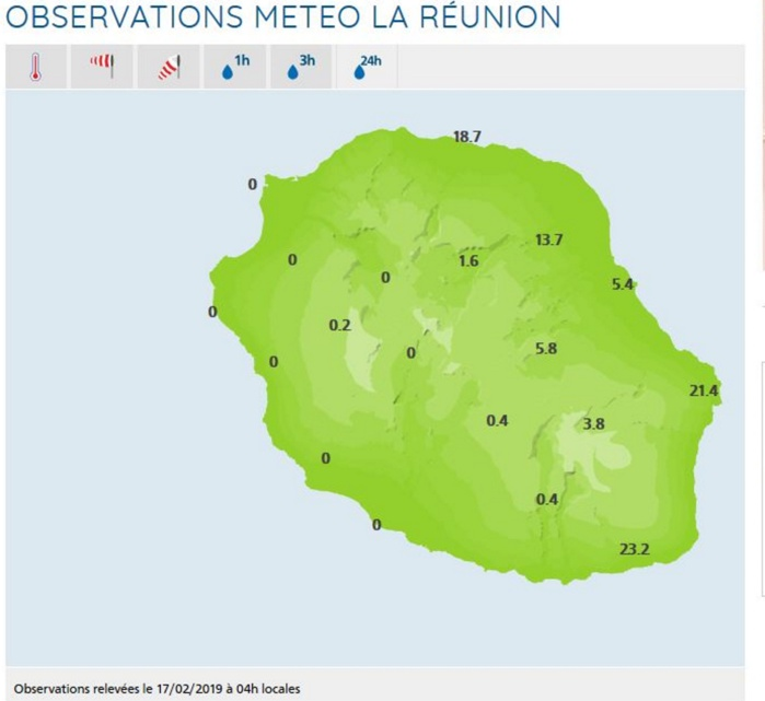 A 04h, pluies en 24h dans les stations de MFR.
