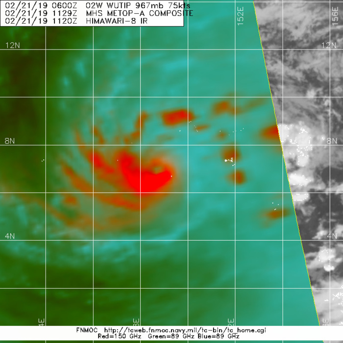 15UTC: typhoon Wutip(02W) Category 2 US, intensifying and approaching Guam