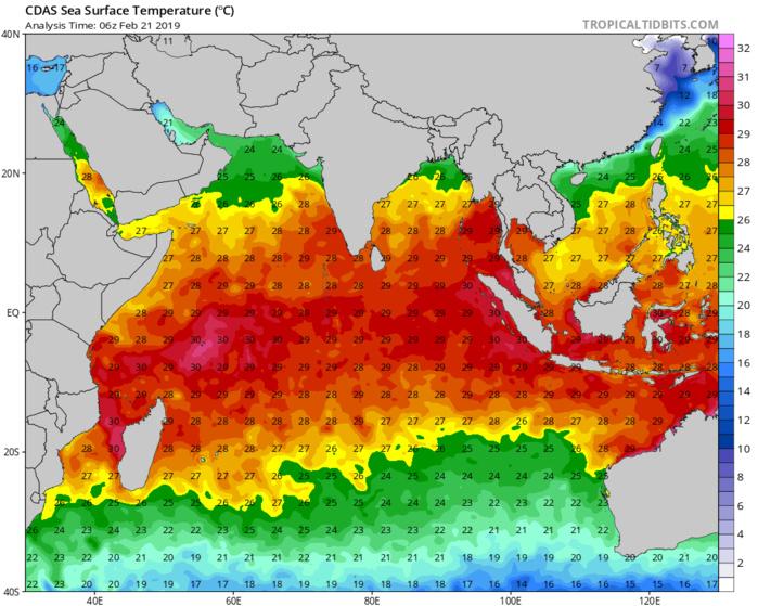 Une mer à ...plus de  30°C aux Seychelles et sur les côtes ouest malgaches