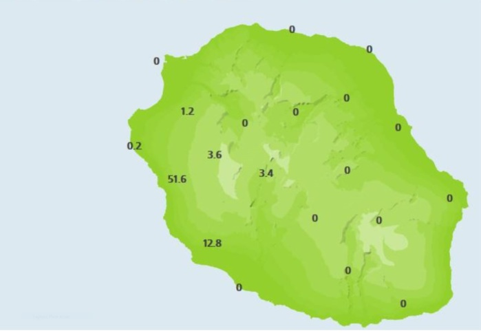 19h: pluies en 3h rapportées par les stations de Météo France Réunion. Colimaçons et Pont Mathruin s'illustrent. Il pleut encore un peu sur le sud ouest mais ça devrait se dégager.