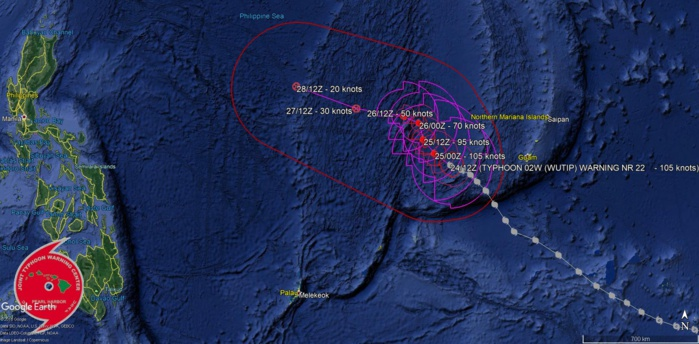 15UTC: Typhoon WUTIP(02W) ,Category 3 US, is weakening more rapidly after 24hours and remaining away from any land