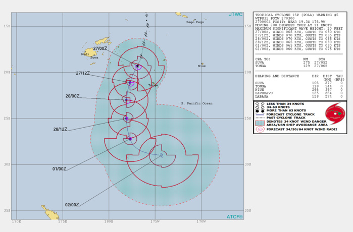 03UTC: Cyclone POLA(16P): Category 1 US , peaking within 24hours and tracking to the west of Nuku 'alofa