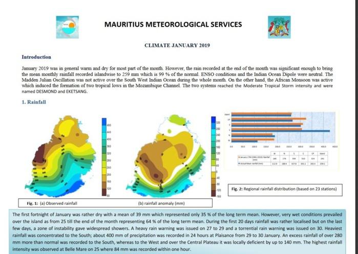 Mauritius: Climate January 2019:  un mois chaud et pluvieux à partir du 25 avec 400mm en 24h à Plaisance