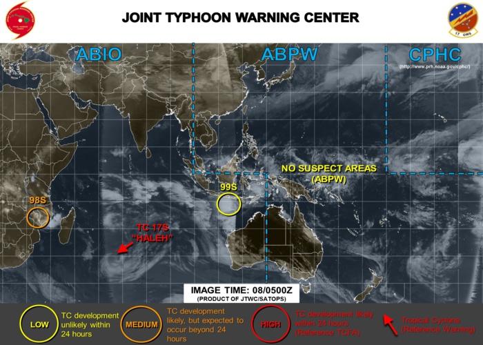 Carte de la Navy US (09h/Mascareignes) qui montre les 3 systèmes suivis actuellement sur le Sud Indien. Aucune zone suspecte sur le Pacifique nord et sud.