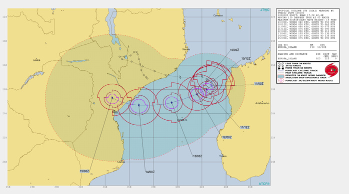 03UTC: IDAI(18S) is intensifying and could threaten the Beira region/Mozambique in 96hours as a powerful cyclone