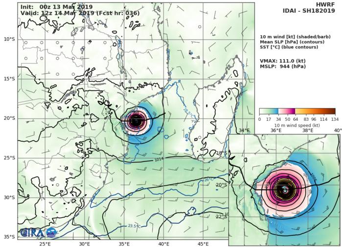 09UTC: Cyclone IDAI(18S) category 2 US, 490km to Beira, slowly approaching, set to make landfall close to Beira in 36hours