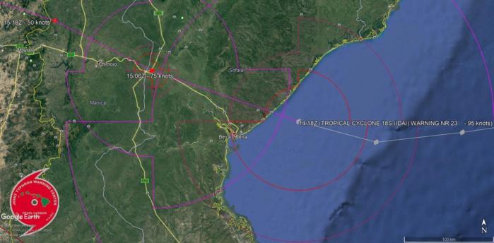 00UTC: TC IDAI(18S) made landfall over Beira near 22utc.