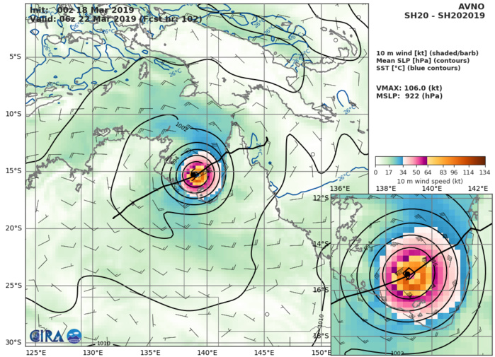 09UTC: TC TREVOR(20P) intensifying rapidly over the Coral Sea, landfall expected shortly after 24hours close to Lockhart/Queensland
