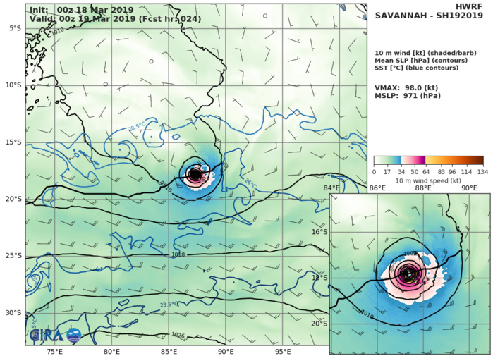 09UTC: TC SAVANNAH(19S) category 1 US is weakeing over the open seas of the South Indian Ocean