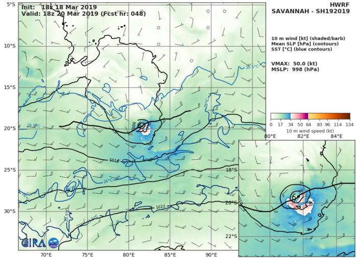 03UTC: TC SAVANNAH(19S) :  intensity could fall below 35knots in 36hours maybe sooner