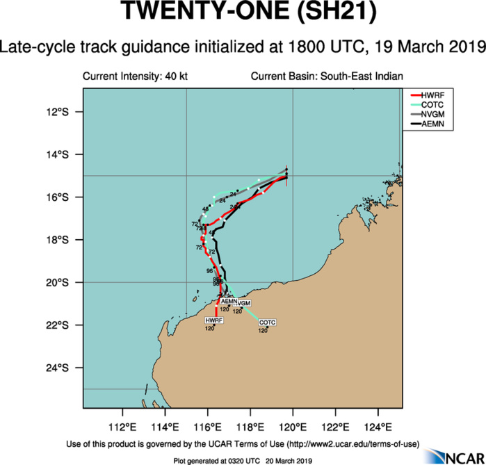 03UTC: South Indian: TC VERONICA(21S) intensifying rapidly to the north-west of Western Australia
