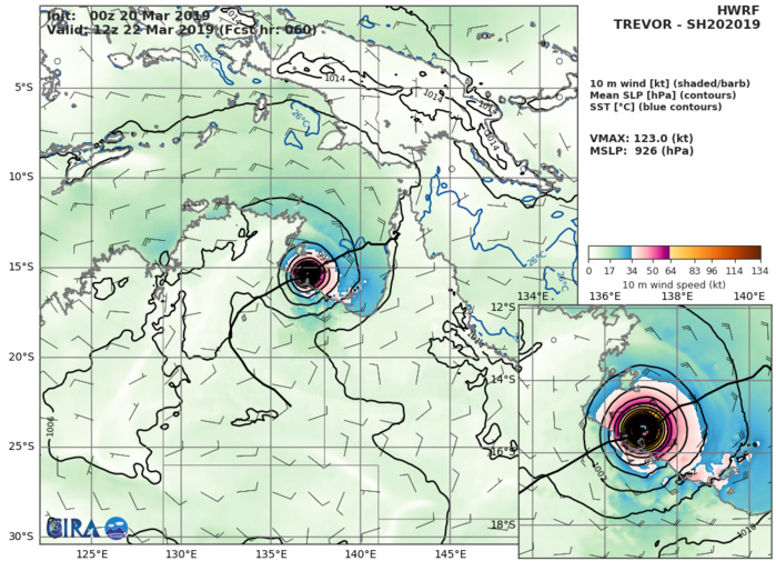 09UTC: TC TREVOR(20P): close to moving back over sea, expected to intensify rapidly next 48h over Gulf of Carpentaria