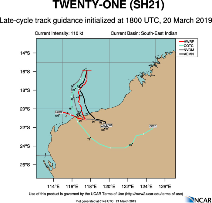 03UTC: South Indian: VERONICA(21S) category 4 US, may reach category 5 within 12 hours
