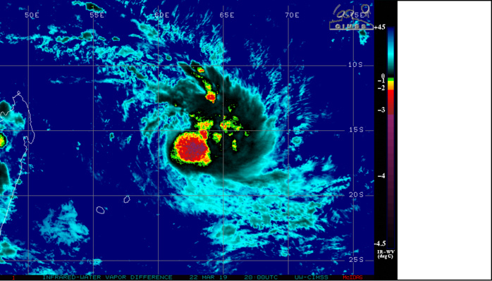 20UTC: building convection and system getting better organized.