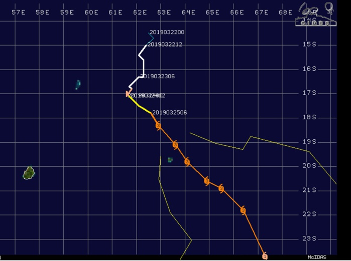 19h30: rafales de 150/160 km/h enregistrées à RODRIGUES, 13è bulletin de cyclone de MMS